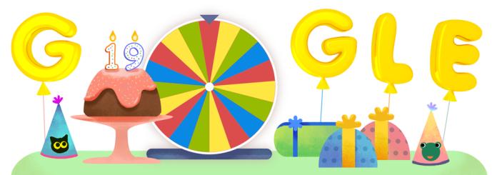 Roda de surpresas do 19º aniversário do Google